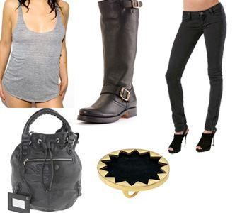 Look 2 collage, fashion, style, ashlee simpson, American Apparel, Balenciaga, House of Harlow, Frye, Ksubi
