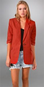 elizabeth and james, blazer, boyfriend blazer, red blazer, fashion