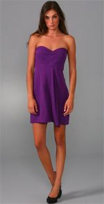 tibi, dress, purple dress, strapless dress