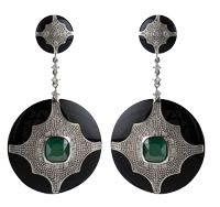 Black Deco Jewel Earrings