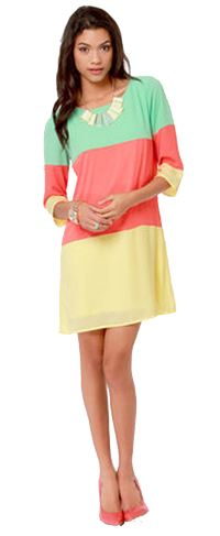 Citrus Grove Coral Color Block Shift Dress
