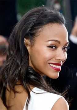 wedding hair zoe saldana