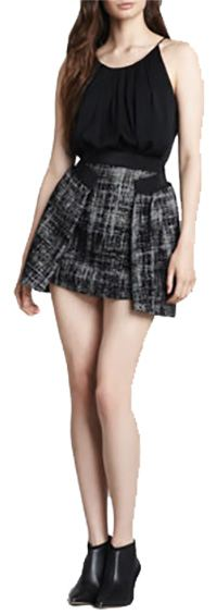 Full Pleated Tweed Skirt